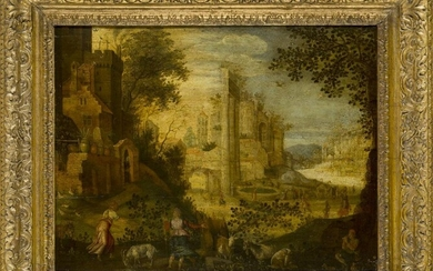 Follower of Paul Bril, Flemish c.1553/4-1626- View of the Roman...