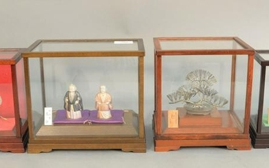 Four Japanese silver figures in shadow boxes to include