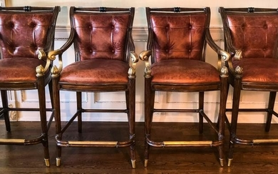 French Empire Style Leather & Flame Finial Bar Stools