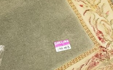 French style carpet, mint green with floral border