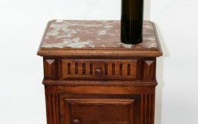 French walnut chevet with marble top