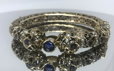 GOLD SAPPHIRE AND PEARLS BRACELET