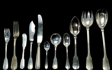 German .800 and Sterling Silver Fiddle Pattern Flatware