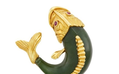 Gold, Carved Nephrite and Ruby Carp Clip-Brooch, Seaman Schepps