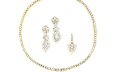 Gold and Cubic Zirconia Necklace, Bracelet, Pendant and Pair of Pendant-Earrings