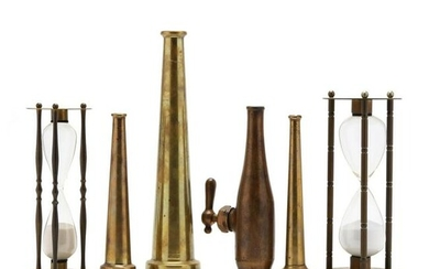 Group of Brass Fire Nozzles and Hourglasses
