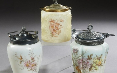Group of Three Mount Washington Style Glass Biscuit