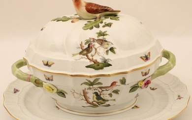 HEREND ROTHSCHILD BIRD COVERED TUREEN WITH UNDERPLATE