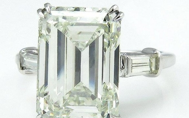 HUGE 6.87ct Emerald Cut Three Stone Diamond Engagement