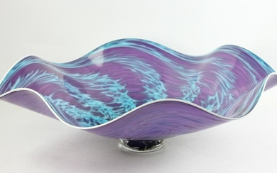 Hand Blown Blue Glass Bowl Signed Hadley