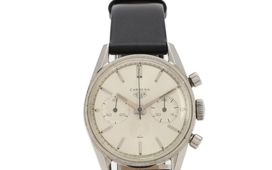 Heuer: A gentleman's wristwatch of steel. Model Carrera 45, ref. 3647S. Mechanical chronograph movement with manual winding. 1960s.