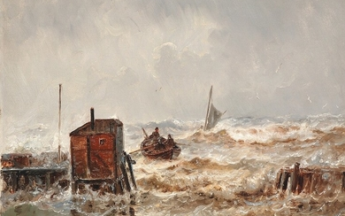 Holger Drachmann: Stormy weather at Taarbæk. Signed and dated H. Drachmann Novbr. 89. Oil on canvas. 41.5×58 cm.