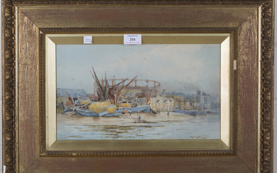 Hubert James Medlycott - 'Battersea', watercolour, signed, titled and dated 1891, 20.5cm x