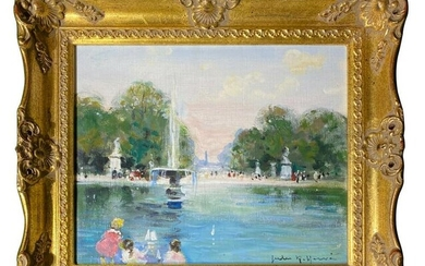 JULES RENE HERVE FOUNTAIN PARK OIL PAINTING PARIS