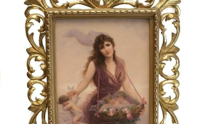 KPM Porcelain Plaque Beauty Collecting Cherubs Signed