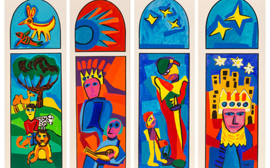 Karel Appel (1921-2006), David the Shepherd, David the Psalmist, David the Warrior, David the Anointed King (studies for stained glass windows, Temple Sholom, Chicago, Illinois), 4 works (1982)