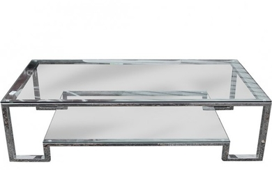 Knoll Style Chrome Square Tubular Glass Coffee Table