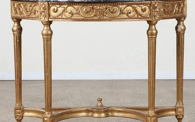 LOUIS XVI STYLE GILT CARVED MARBLE TOP DEMILUNE