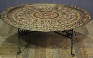 Large Middle Eastern Brass Tray on Stand