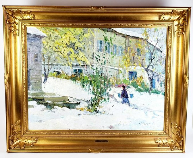 """Large Russian Oil on Canvas """"Water Carrier"""" Signed"""