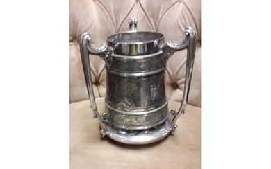 Large Victorian 1894 tri handled silver plate cycling trophy...
