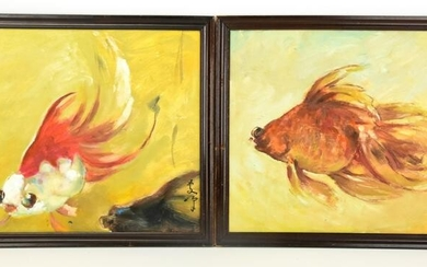 Lee Man Fong Chinese Indonesian Fish Paintings