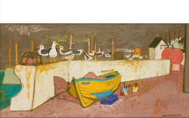 § Leon Morrocco A.R.S.A (Scottish B.1942) HARBOUR WITH WALL AND YELLOW BOAT