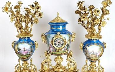 Magnificent 19th C. 3 Pc. Sevres Gilt Bronze &