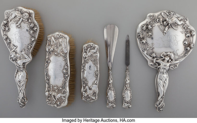 Maker unknown, An American Art Nouveau Silver Vanity Set (early 20th century)