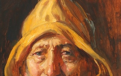 Michael Ancher: A potrait of a fisherman. Signed M. A. Oil on panel 32.5×24 cm.