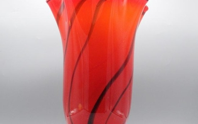 Mid-Century Modern Red Glass Vase with Black Swirls
