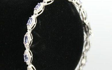 Modern 10K White Gold Tanzanite & Diamond Bracelet