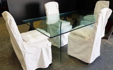 Modern Glass Dining Table on Twin Base Together with Callico Covered Dining Chairs (Table - H: 73, L: 180, W: 95cm)