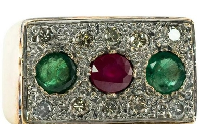 Natural Ruby Emerald Diamond Ring 14K Gold Mens