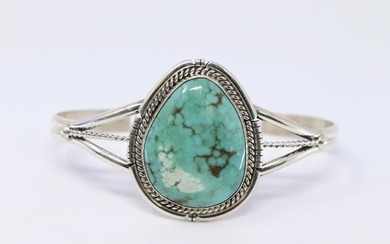 Navajo Native Pilot Mountain Turquoise Sterling Silver