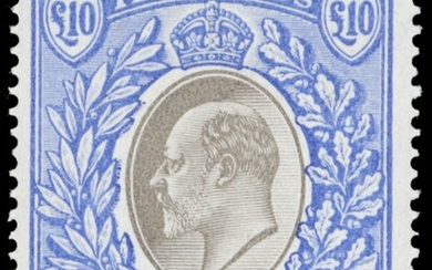 Nyasaland 1903-04 £10 grey and blue, large part original gum, particularly fine with vivid col...
