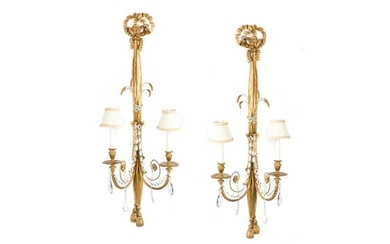 PAIR OF EARLY 19TH C GILDED WALL SCONCES