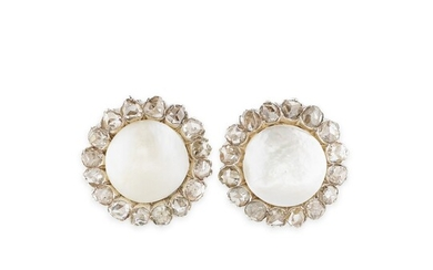 PAIRE DE BOUCLES D'OREILLE PERLES FINES ET DIAMANTS | PAIR OF NATURAL PEARL AND DIAMOND EARRINGS