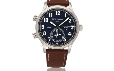 PATEK PHILIPPE | CALATRAVA PILOT TRAVEL TIME REF 5524G, A WHITE GOLD AUTOMATIC DUAL TIME WRISTWATCH WITH DATE AND LOCAL AND HOME DAY/NIGHT INDICATION CIRCA 2017