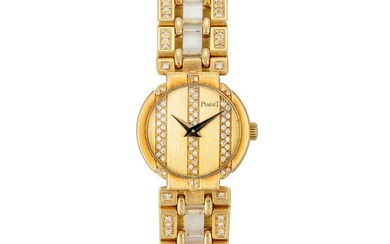 PIAGET | POLO, REFERENCE 8240 A YELLOW GOLD, DIAMOND-SET AND ROCK CRYSTAL BRACELET WATCH, CIRCA 1990