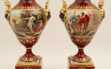 PR. OF 19TH C. ROYAL VIENNA CABINET URNS ON STANDS