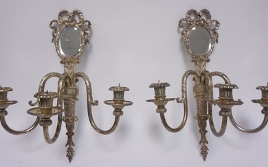 PR OF SILVER PLATED PRICKET SCONCES W/BEVELED MIRRORS