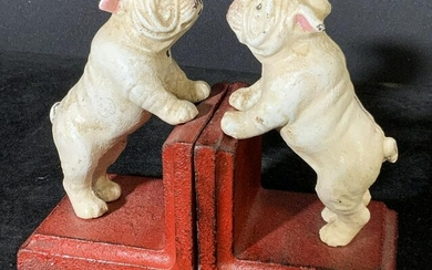 Pair Vintage Cast Iron English Bulldog Bookends