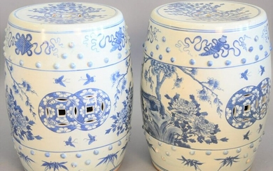 Pair chinese blue and white porcelain garden seats, ht.