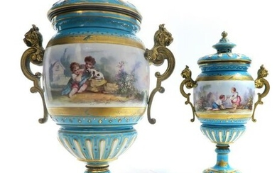 Pair of 19th C. Sevres Turquoise Porcelain & Bronze