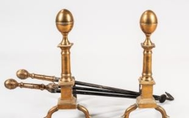 Pair of Engraved Lemon-top Bell Metal Andirons and Matching Tools