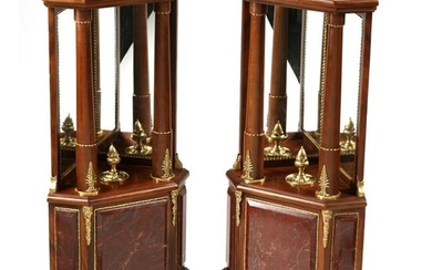 Pair of Gilt Bronze and Marble Mounted Corner