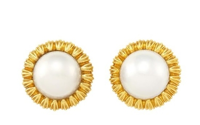 Pair of Gold and Mabé Pearl Earclips, Tiffany & Co.