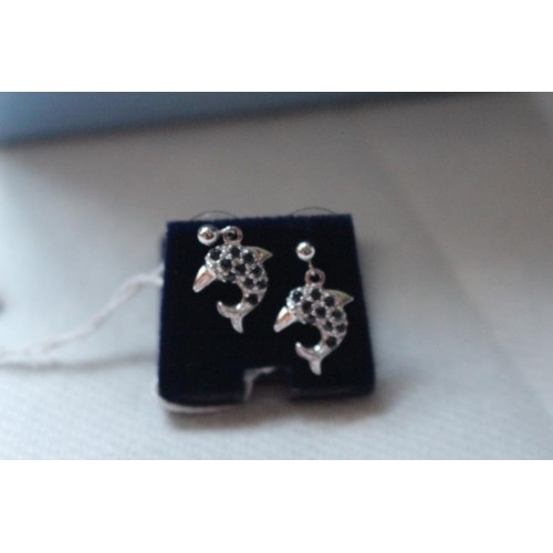 Pair of Sapphire and Diamond White Gold Earrings in the form...