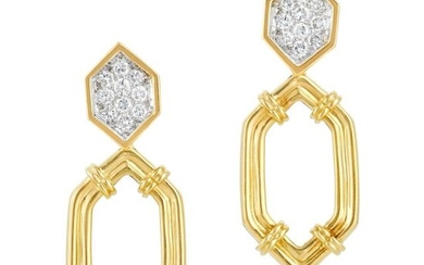 Pair of Two-Color Gold and Diamond Pendant-Earrings